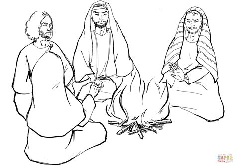 peter denies jesus the first time coloring page free