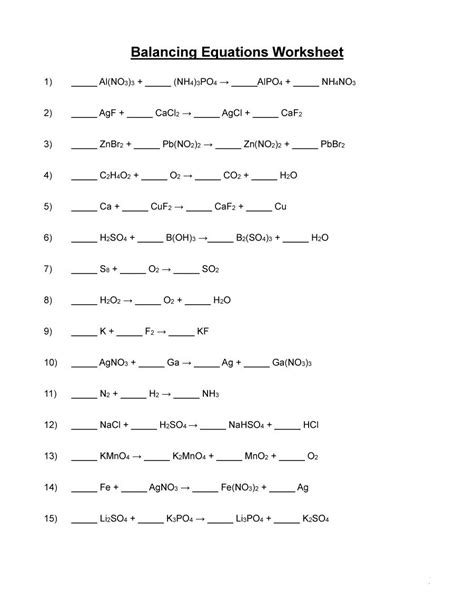 Balancing Equations Worksheet Answers by 49 Balancing Chemical Equations Worksheets With Answers