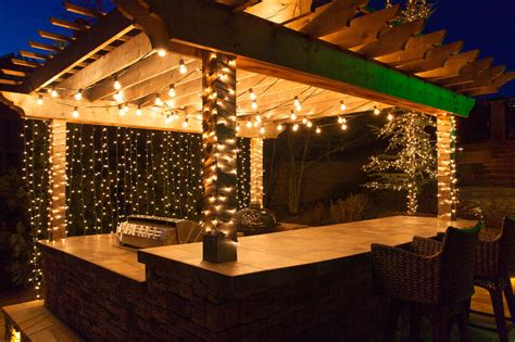 outdoor hanging patio lights deck lighting ideas with brilliant results yard envy