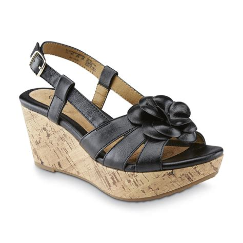 sears sandals womens s delightful black wedge sandal shoes
