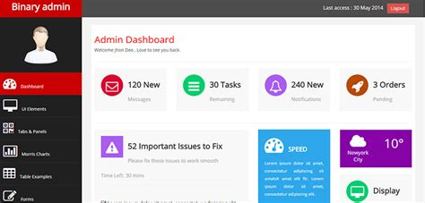 bootstrap themes mit binary admin free responsive html5 bootstrap admin