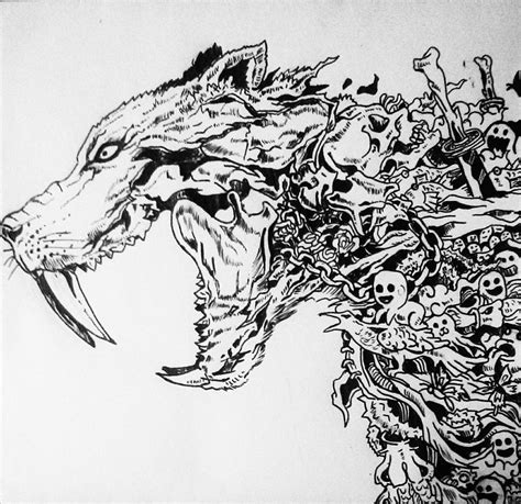 wolf doodle drawing by biplab basumatary
