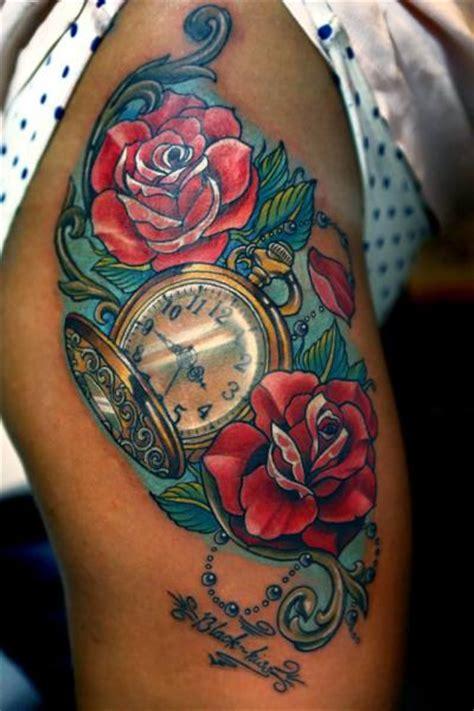 tattoo flower clock clock flower thigh tattoo by vaso vasiko tattoo