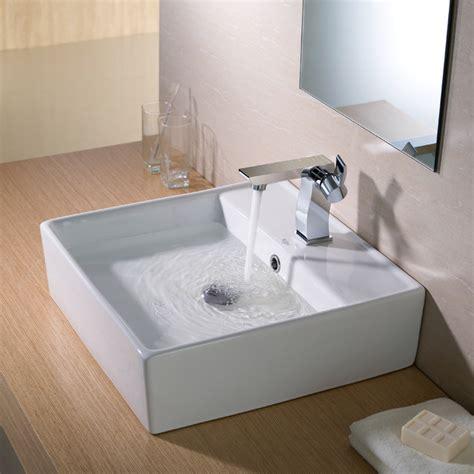 overstock bathroom sinks kraus square white ceramic vessel bathroom sink
