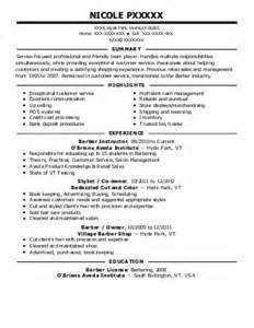 barber resume template barbers resume exles and spa resumes livecareer