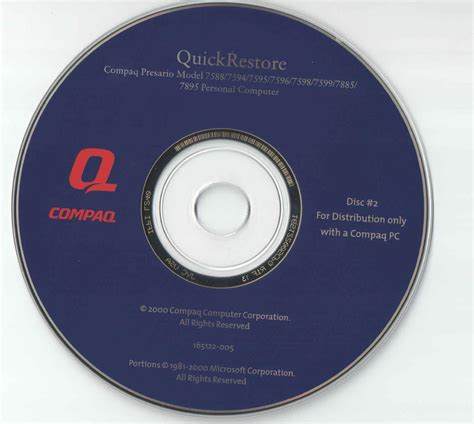 Disk Compac compaq presario restore disk free
