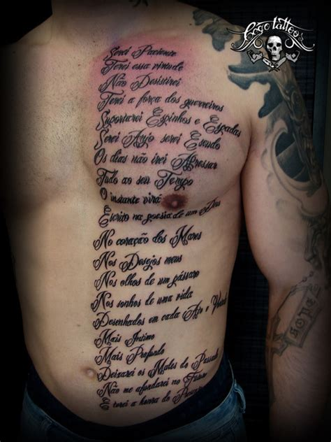 lettering poem tattoo on man chest
