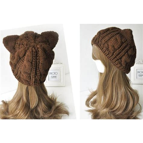 Black Beanie Cat Ear Wool Hat cat ears winter wool beanie stylers