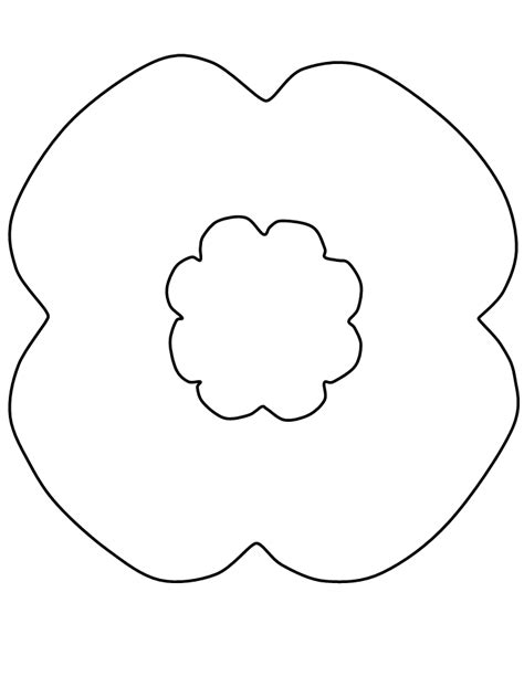 printable poppy template remembrance day poppy coloring page coloring home