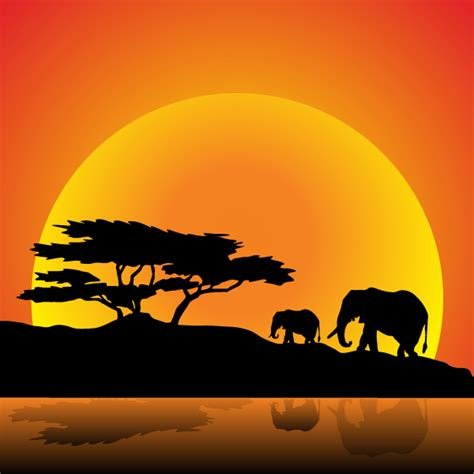 vector elephants family on nature walk 123freevectors