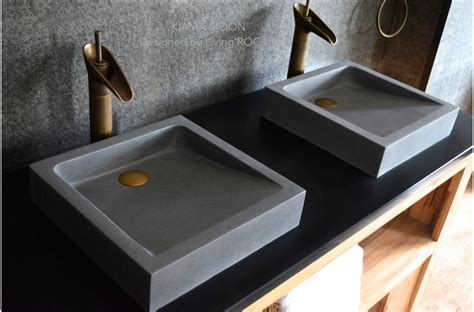 Granite Patio Table 16 Quot Bathroom Sink Gray Basalt Stone Concrete Look Kiama Moon