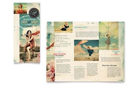Template Brochure Clothing | vintage clothing tri fold brochure template design