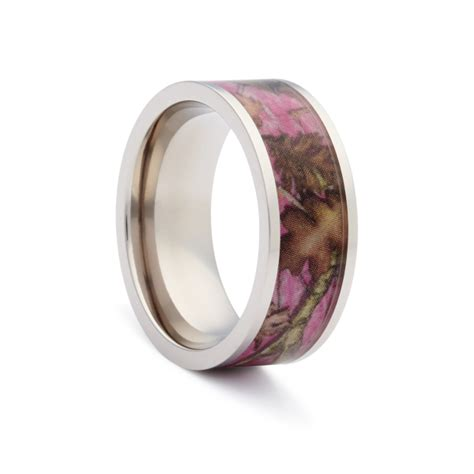 pink camo wedding rings flat titanium camouflage band by