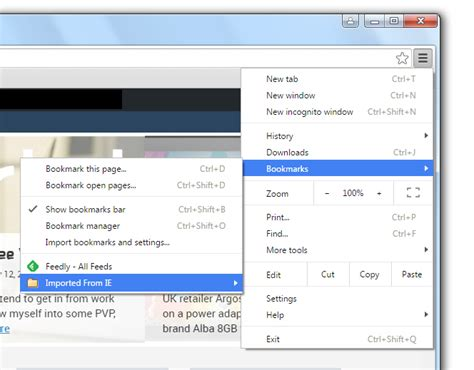 Sleting Import how to import bookmarks and settings from ie to chrome