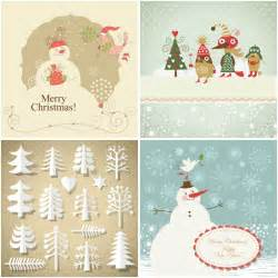 decorative vintage christmas cards vector free stock