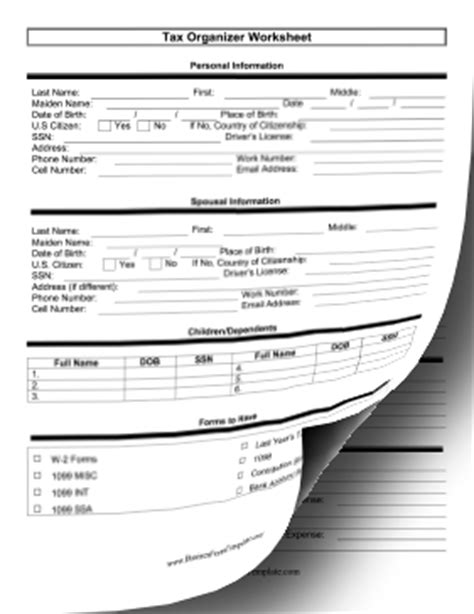 tax organization worksheet (two pages) template