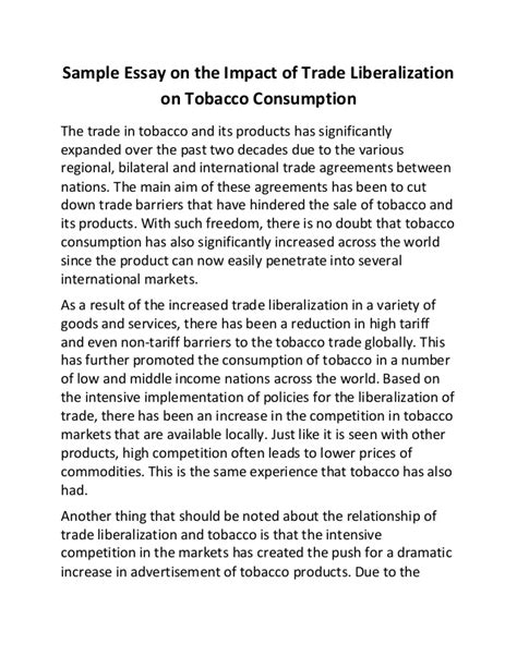 No Impact Essay by Sle Essay On The Impact Of Trade Liberalization On Tobacco Consump