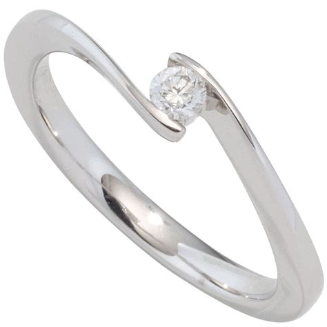 Ring Wei Gold by Ring Damenring Solit 228 R Mit Diamant Brillant 0 10ct 585
