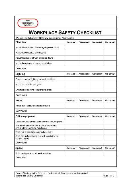 Safeworkplaces Workplace Safety Inspection Checklist Template