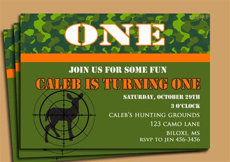 printable hunting birthday invitations hunting camouflage birthday invitation printable orange