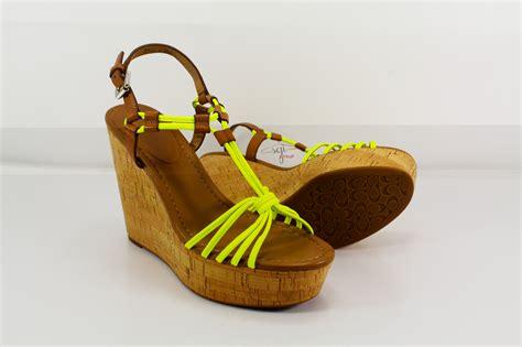coach platform sandals coach georgiana wedge heel platform sandals brown yellow