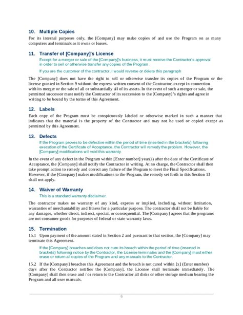 software development agreement template custom software development agreement free
