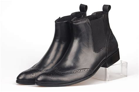 cool mens leather boots retro cool genuine leather black chelsea boots