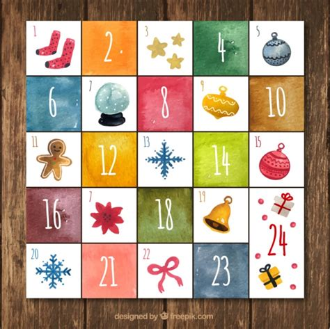 A Calendar Item Calendar Advent With Decorative Items In Watercolor Style
