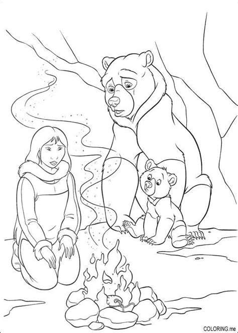 coloring page brother bear fire in cave coloring me