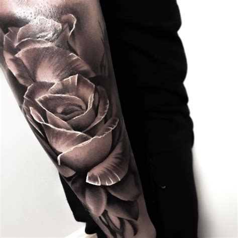 3d black rose tattoos grey ink 3d on arm