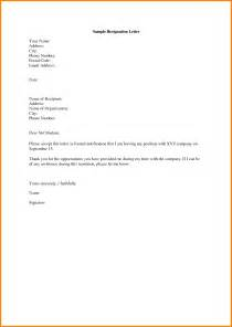 Standard Resignation Letters by Format Of A Letter Of Resignation Format For A Letter Of Resignation Socialsci Letter For