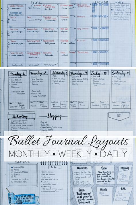 journal layout ideas daily weekly and monthly bullet journal layout exles