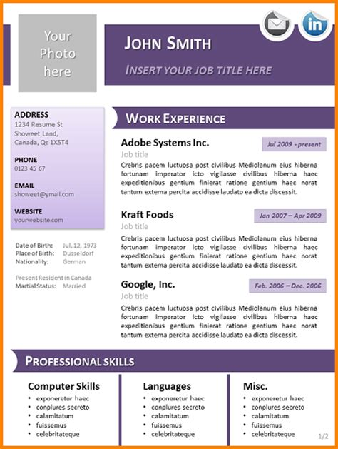 Template Cv Open Office Gratuit 2 Mod 232 Le Cv Gratuit Open Office Lettre De Preavis