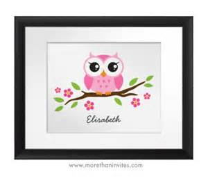 cute pink owl personalized wall art for girls more than