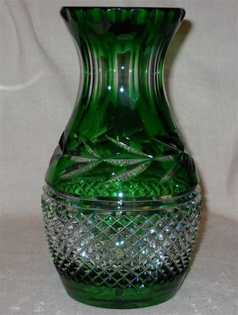 Galway Vase by Emerald Green Cut To Clear Vase By Galway