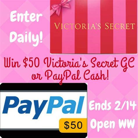 Victorias Secret Gift Cards - win 50 victoria s secret or paypal myvalentine