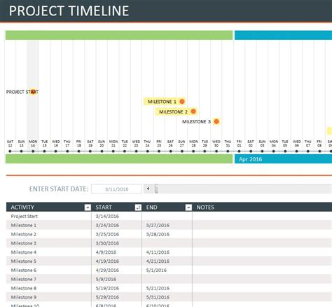 comprehensive timeline sheet  excel templates