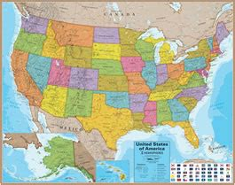 wall maps of the united states for sale