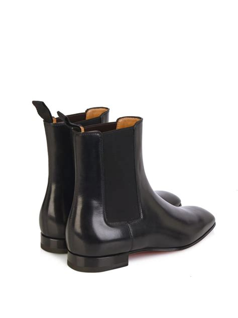 christian louboutin broadie leather chelsea boots in black