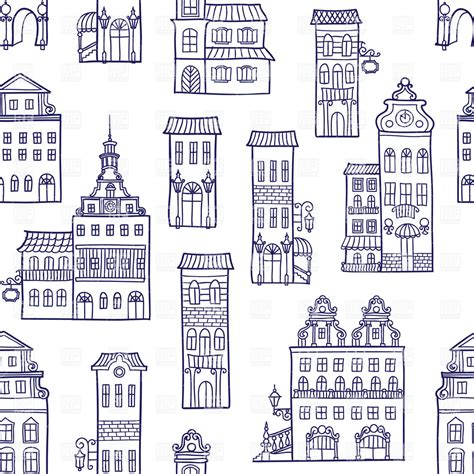 house pattern vector seamless pattern made of vintage houses royalty free