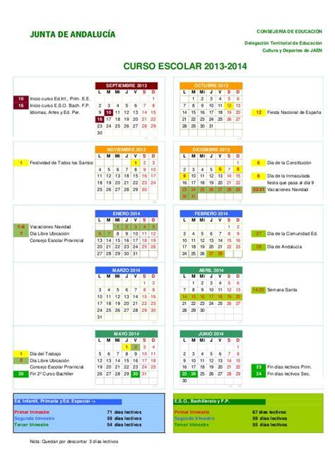 Calendario Escolar Andalucia 2014 Calendario Escolar 2013 14 Ja 233 N