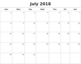 Calendar For 2018 July July Calendars