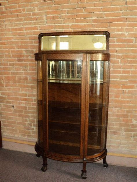 antique curio cabinet with curved glass small oak antique curved glass china curio cabinet w