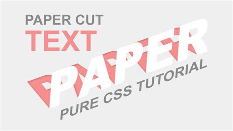 css tutorial on youtube css paper cut text effect pure css tutorial css3