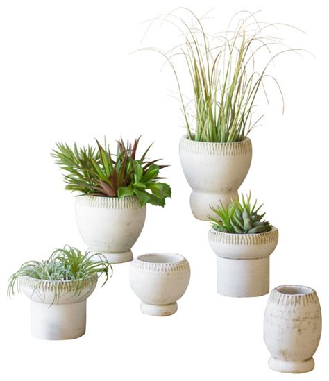 white planter pots white clay planters set of 6 indoor pots and planters