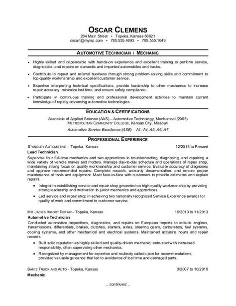 resume format for automobile technician auto mechanic resume sle
