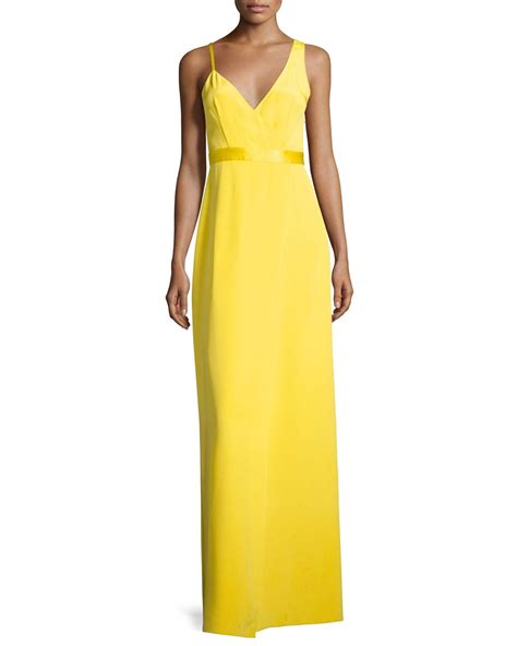 How To Copy Guccis Asymmetrical Yellow Dress For Less by Diane Furstenberg Asymmetric Sleeveless Side Slit Gown
