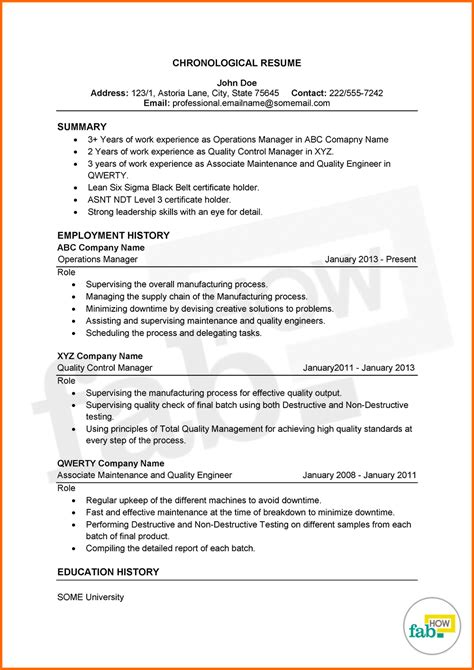 Chronological Resume Format Download Elegant Reverse