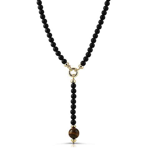 tiger eye pendant black rosary necklace disco