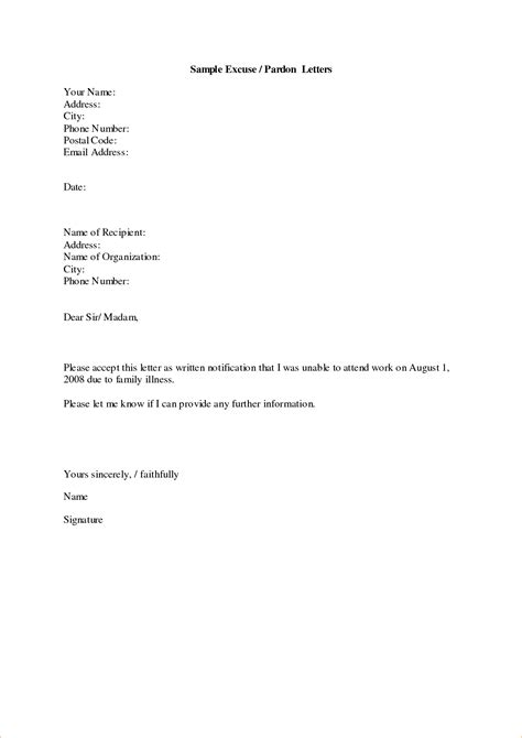 Letter For Work Excuse Sle Of Excuse Letter For High School Students Cover Letter Templates